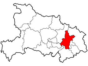 Location of Wuhan City jurisdiction in Hubei