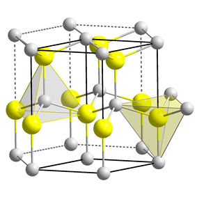 Unit cell, ball and stick model of cadmium selenide