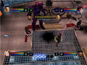 In each corner of the screen a playable character's head appears, along with a red and blue bar extending horizontally back towards the center of the screen. At the bottom center five large circular