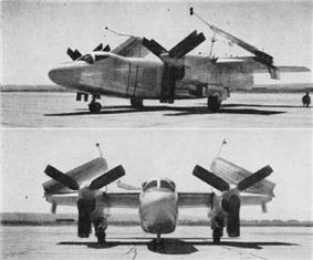 Black and white two-view image of propeller-driven aircraft with wings folded.