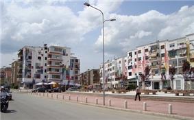 An image of the neighborhood of Tirana called Xhamllik.