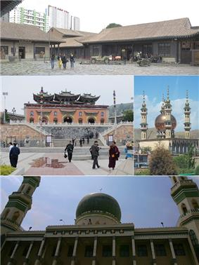 Clockwise from top: Ma Bufang Mansion,  Duoba Mosque, Dongguan Mosque, Ta'er Temple.