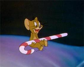 Jerry Mouse holding a Candy Cane