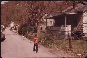 A child walking in Chattaroy, West Virginia