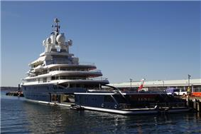 The world's largest expedition yacht, Luna, is seen docked in San Diego.