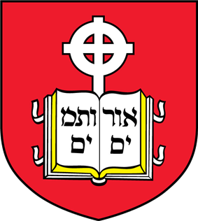 Crest of the school, containing a book device inscribed with Hebrew letters and cross in front of a red background