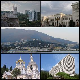 Top left:Swallow's Nest and Aurora Cliff, Top right:Livadia Palace, Center:View of Mount Ai Petry and Naberezhna waterfront area, Bottom left:Alexander Nevski Cathedral, Bottom right:Yalta Intourist Hotel