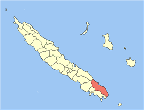 Location of the commune (in red) within New Caledonia