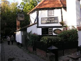 Outside of a timber-framed English pub