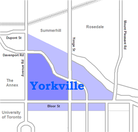 Historically Yorkville was the area north of Bloor and east of Avenue Rd., today a number of other areas are also considered part of the district