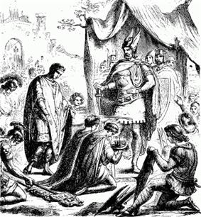 Romulus Augustulus surrenders the crown