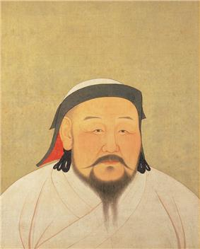 A head-shot style portrait of a middle aged man with flush cheeks and a black beard that extends from ear to ear, and is part in the middle, as well as a long mustache extending out horizontally rather than down. He is wearing a white robe and a black trimmed white had with a red inside lining.