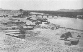 The town of Yuma Crossing and the Colorado River