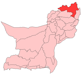 Map of Balochistan with Zhob District highlighted