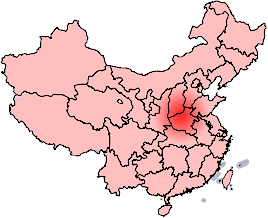 Map showing the province of Henan and two definitions of the Central Plain or Zhongyuan