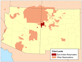 Location of Zuni Indian Reservation