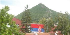 The town of Zvečan with Zvečan Fortress